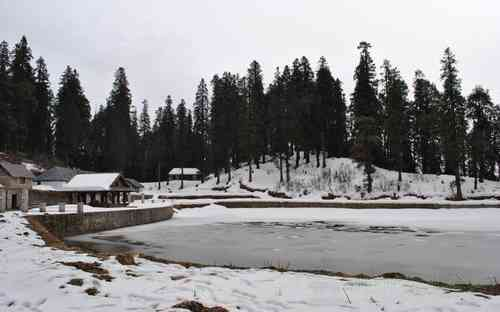 A View of Frozen Lake in Kamrunag Temple